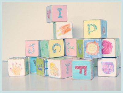 Homemadebaby blocksare perfect for baby shower crafts