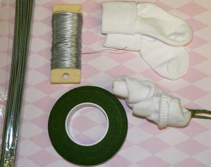 baby sock roses supplies