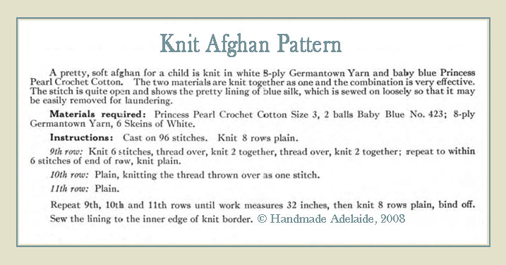 Free Baby Blanket Knit Pattern